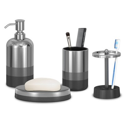 4pc Triune Metal Bath Accessory Set For Vanity Counter Tops Silver - Nu Steel