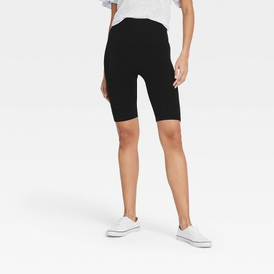 "Women's High-Waist Cotton Blend Seamless 7"" Inseam Bike Shorts - A New Day™"