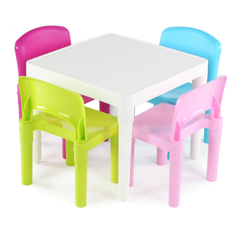Plastic Table & 4 Chairs - Bright Colors - Tot Tutors, White