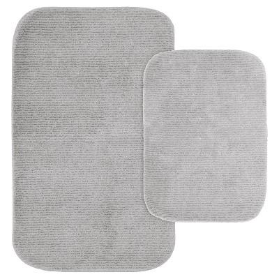 2pc Glamor Nylon Washable Bath Rug Set Platinum Gray - Garland
