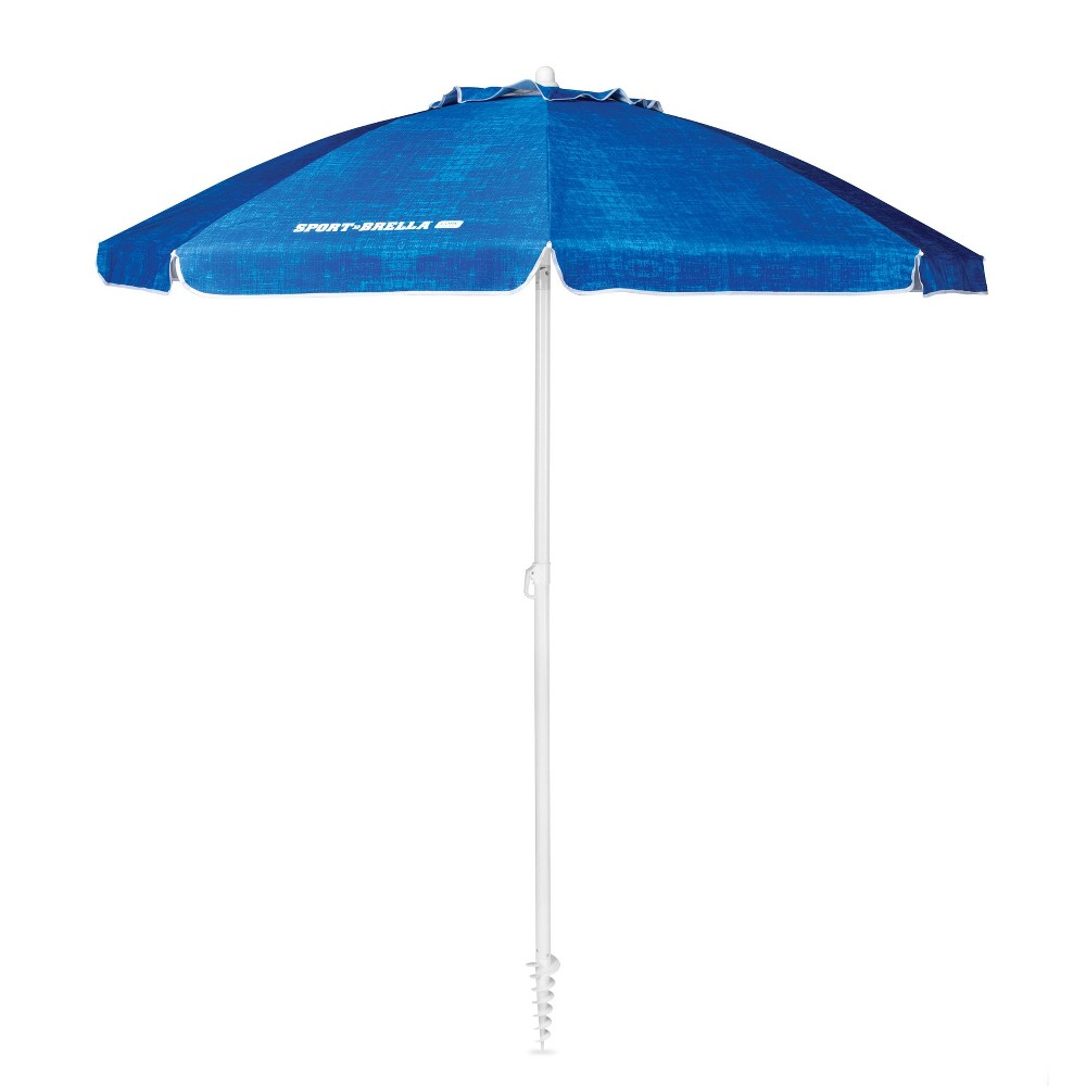 Sport-Brella Core Heathered - Blue The 7 foot Sport-Brella Core keeps you protected from the sun, wind, and rain. It is lined with a Upf 50+ undercoating that blocks harmful Uva and Uvb rays. Durable center pole has a built-in auger tip to easily anchor into most surfaces and adjusts for maximum shade. Dual canopy allows for air to pass through and improves stability. Color: Blue.
