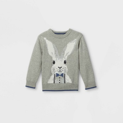 Toddler Boys' Easter Bunny Pullover Sweater - Cat & Jack™ Heather Gray