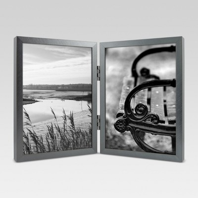 Metal Hinged Double Image Frame 5x7 - Gunmetal - Project 62™