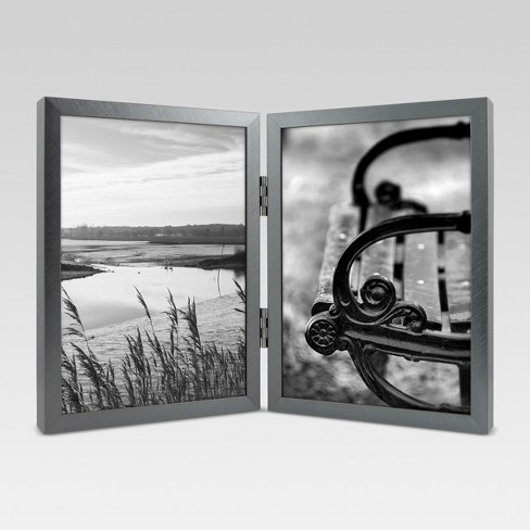 Metal Hinged Double Image Frame 5x7 - Gunmetal  - Project 62™ - image 1 of 5
