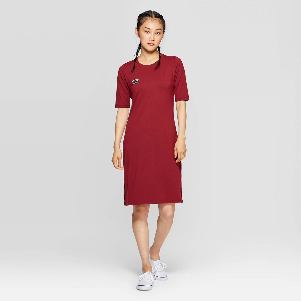 Image of Umbro Women's 3/4 Side Tape Dress - Maroon L, Women's, Size: Large, Red