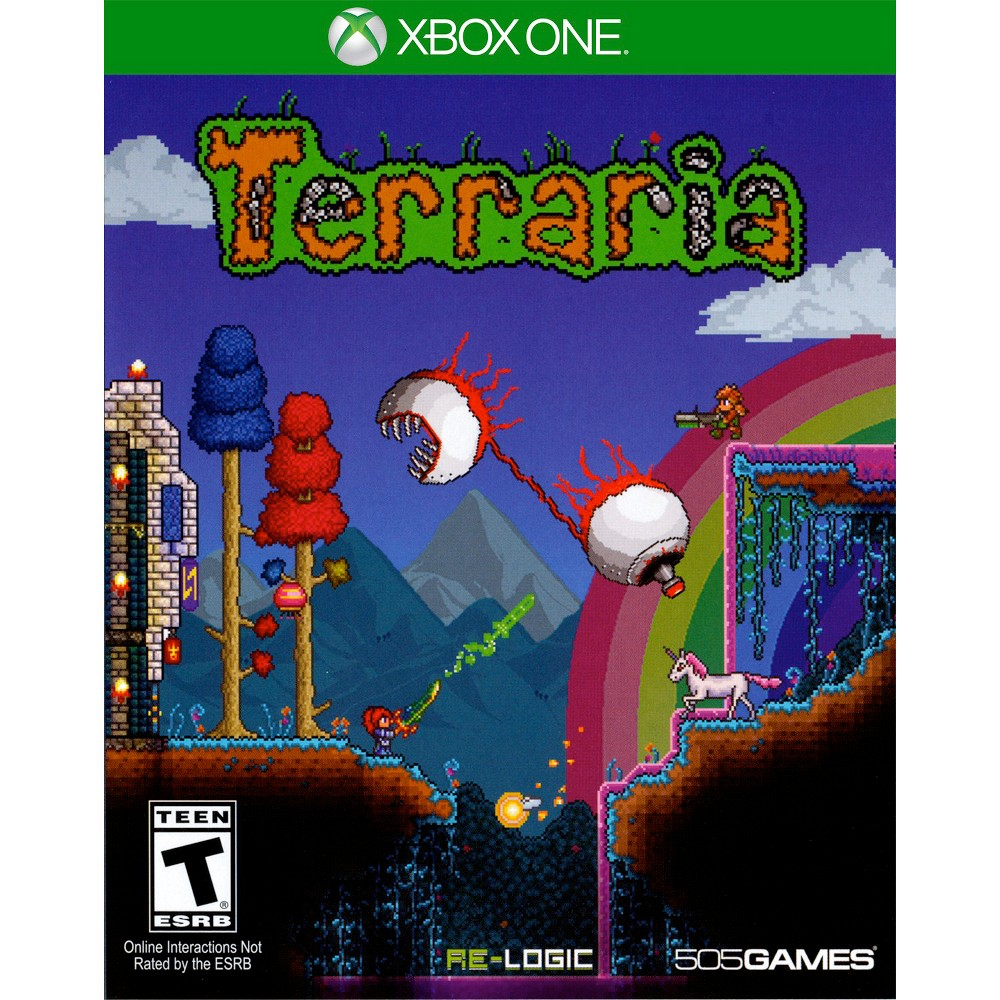 Terraria Pre-Owned Xbox One Create fantastic dwellings and your very own armor in Terraria Pre-Owned (Xbox One) - 505 Games. The game works for Xbox One consoles. The interactive video game provides hours of fun and is recommended for players 13 and older.