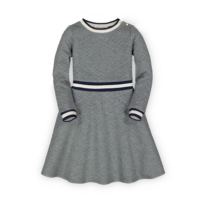 Hope & Henry Girls' Long Sleeve Quilted Matelasse Fit and Flare Dress, Infant