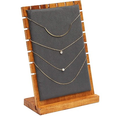 Juvale Wooden Jewelry Tabletop Display Stand Necklace Showcase for Chockers, Pearls, Trade Shows and Storefront Display