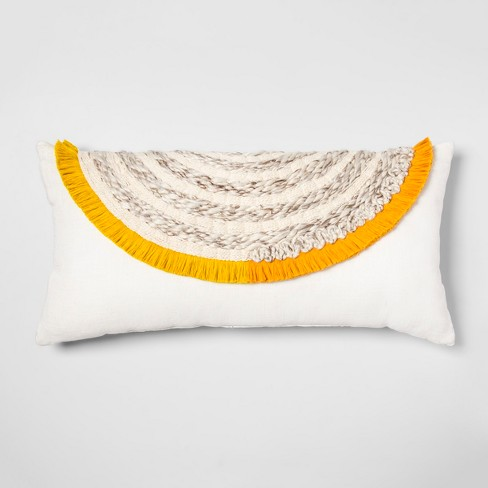 Yarn Applique Oversized Lumbar Throw Pillow Cream - Opalhouse™ - image 1 of 5