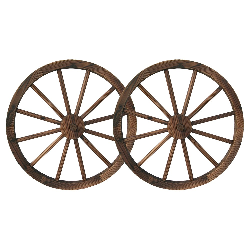 "Image of ""23"""" Wood Freestanding Wagon Wheels Lawn Decor 2pk - Brown - Backyard Expressions"""
