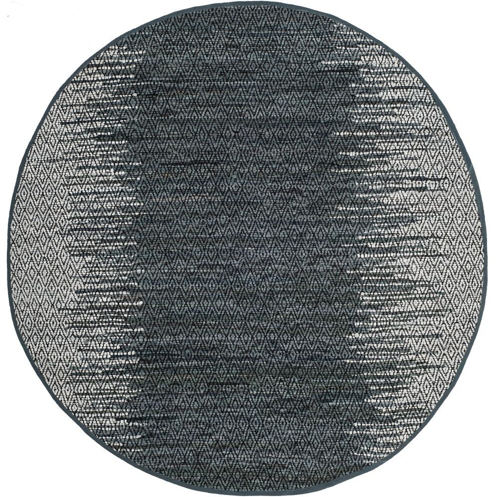 6' Geometric Woven Round Area Rug Light Gray/Charcoal (Light Gray/Grey) - Safavieh