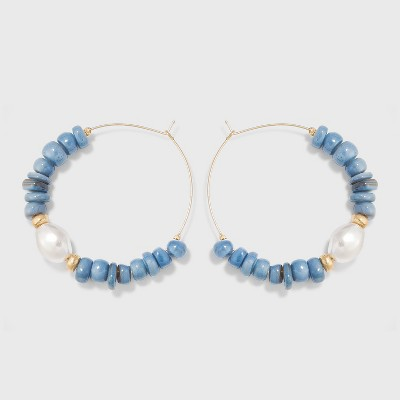 Pearl and Shell Bead Hoop Earrings - A New Day™