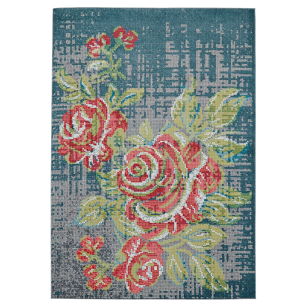 Floral Woven Accent Rugs Blue