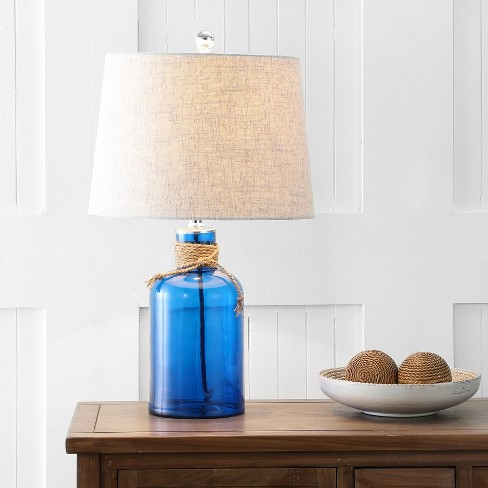 23 5 Azure Glass Bottle Led Table Lamp Cobalt Includes Energy