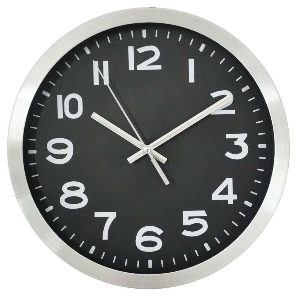 "Image of ""10"""" Round Wall Clock Black/Silver - Threshold"""