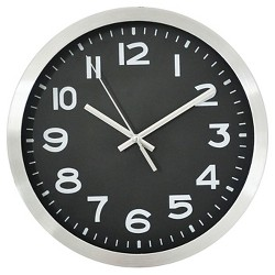 "10"" Round Wall Clock Black/Silver - Threshold™"