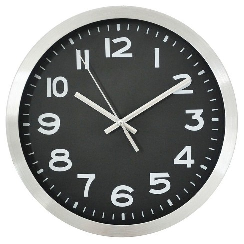 10 Quot Round Wall Clock Black Silver Threshold Target