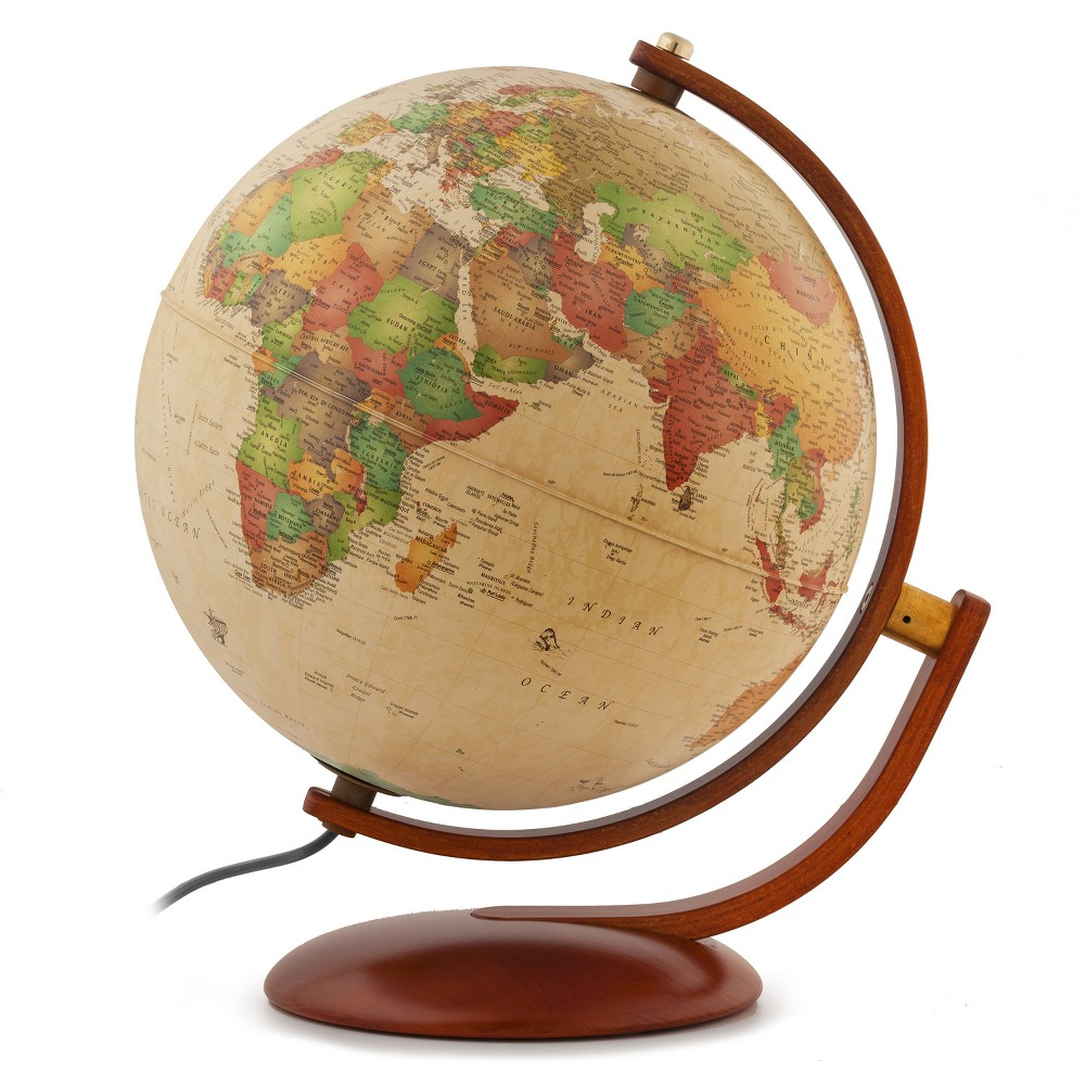 12 Andorra Illuminated World Globe Antique Ocean - Waypoint Geographic
