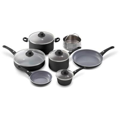 GreenPan Soft Grip 11pc Set Ceramic Non Stick Cookware Set Black