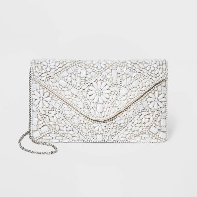 Estee & Lilly Floral Print Snap Closure Beaded Envelope Clutch - Off White