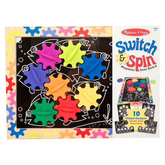 Melissa & Doug Switch and Spin Magnetic Gear Board - Educational Toy With 8 Gears and 5 Double-Sided Designs Board Game, Kids Unisex image number null
