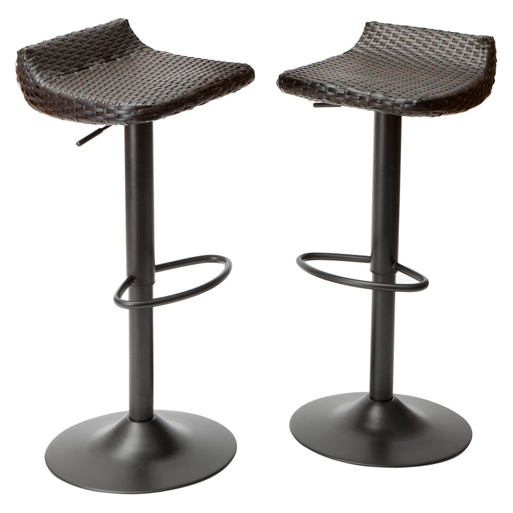 Deco 2pk All- Weather Wicker Patio Barstool Set - Brown - Rst Brands