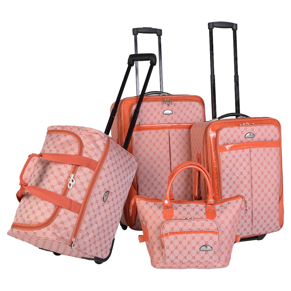 Image of American Flyer Signature 4pc Softside Luggage Set - Orange