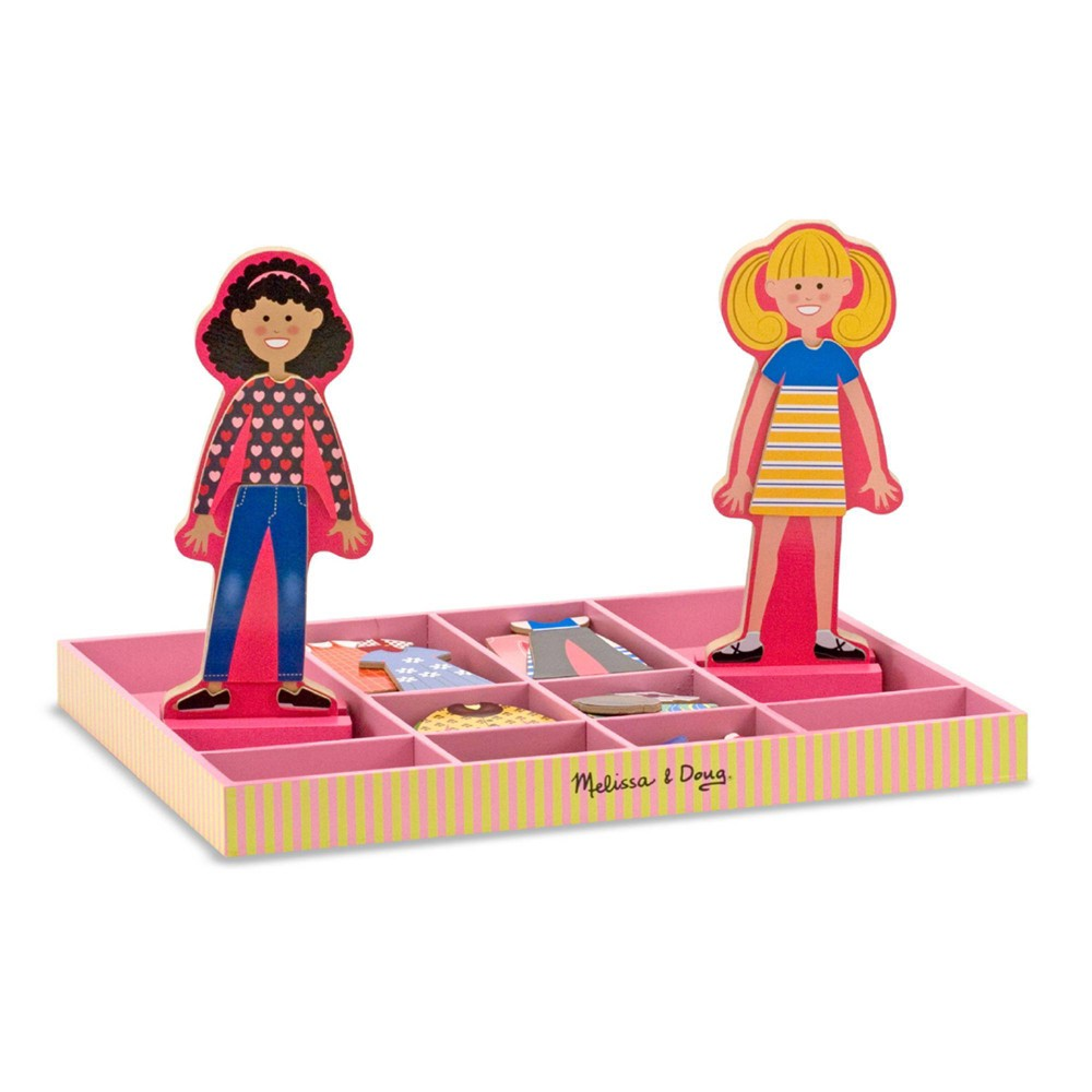 Melissa 38 Doug Abby And Emma Deluxe Magnetic Wooden Dress Up Dolls Play Set 55 Pc