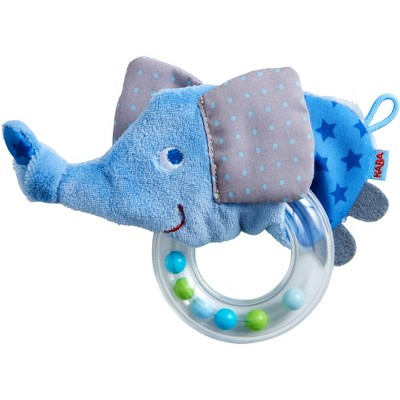 Elephant Fabric Clutching Toy with Removable Plastic Teething Ring
