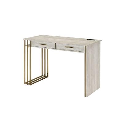Tyeid Built-In USB Port Writing Desk Antique White/Gold - Acme Furniture