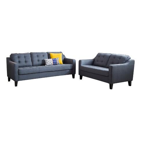 2pc Natalie Tufted Fabric Sofa And Loveseat Navy Abbyson Living