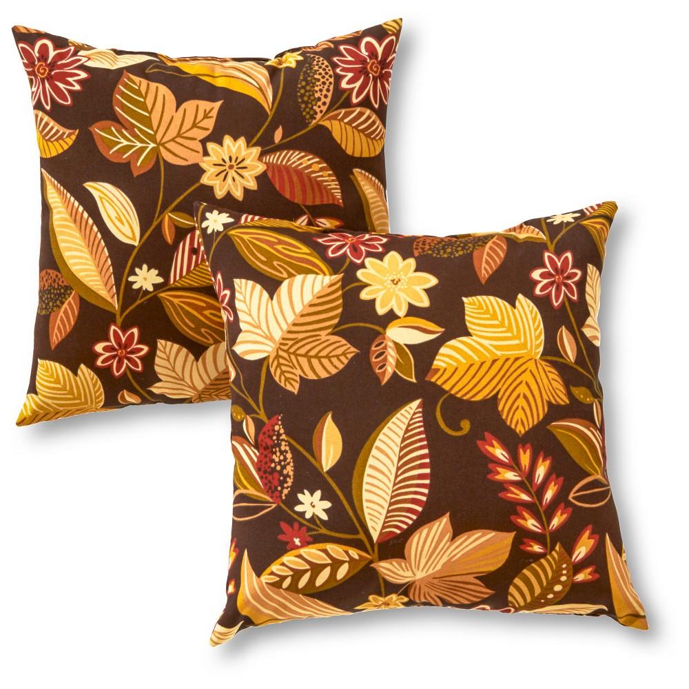 Set Of 2 Timberland Floral Outdoor Square Throw Pillows Kensington Garden