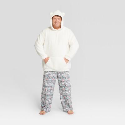 Men's Tall Holiday Fuzzy Bear Fair Isle Pajama Set - Wondershop™ White MT
