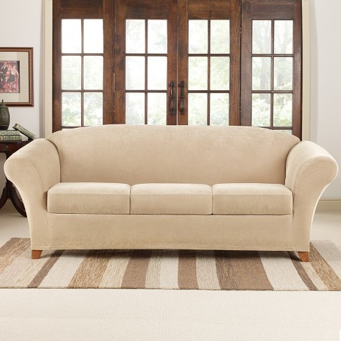 Stretch Pique 4pc Sofa Slipcover - Sure Fit