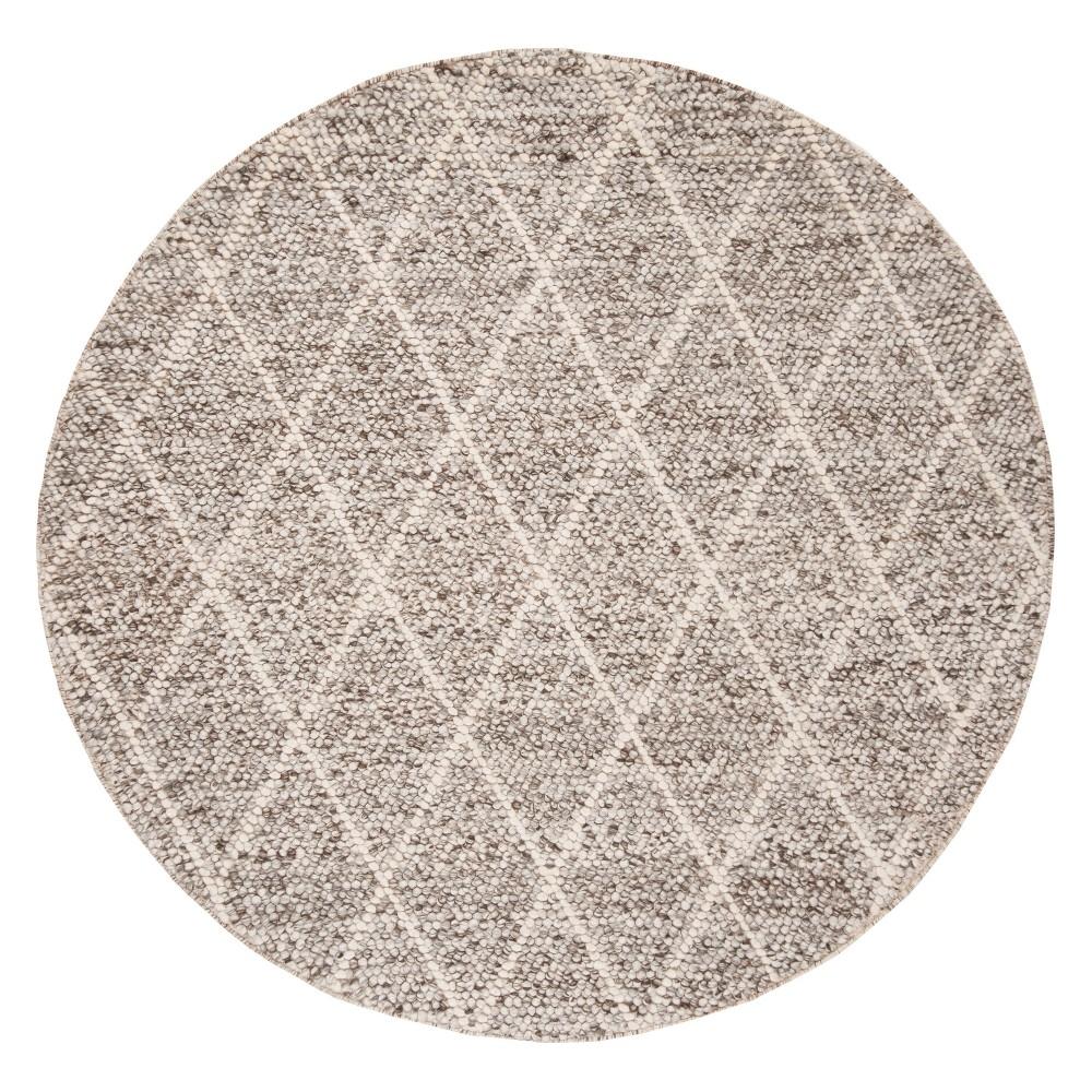 6' Diamond Woven Round Area Rug Ivory/Stone (Ivory/Grey) - Safavieh