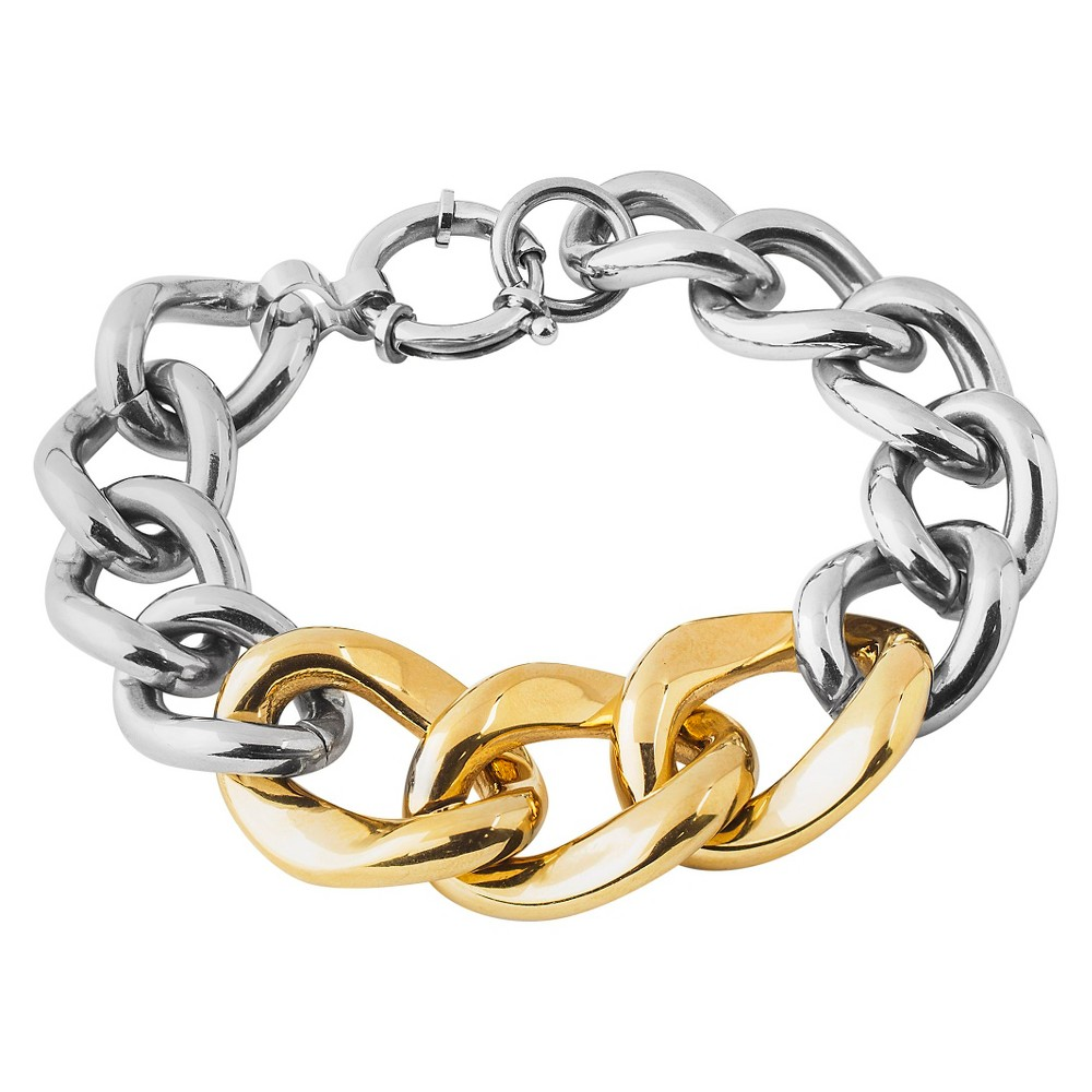 Image of West Coast Jewelry Two-Tone Stainless Steel Curb Link Chain Bracelet, Women's, Gold Silver