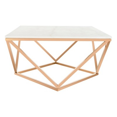 Topeka Marble Top Cocktail Table Rose Gold - Safavieh