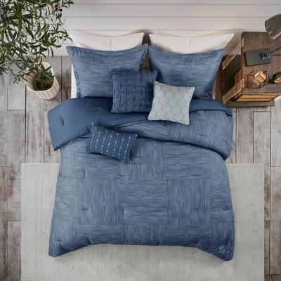 Queen 7pc Kelan Printed Seersucker Comforter Set Navy