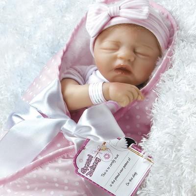 Paradise Galleries Reborn Baby Doll in Silicone Vinyl, 17.5 inch Sleeping Newborn Girl Baby Bundles: I Love Naps, 7-Piece Ensemble