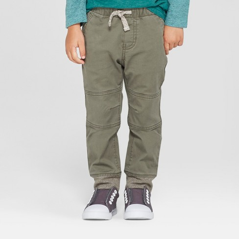Toddler Boys' Reinforced Knee Jogger Fit Pull-On Pants - Cat & Jack™ Green - image 1 of 3