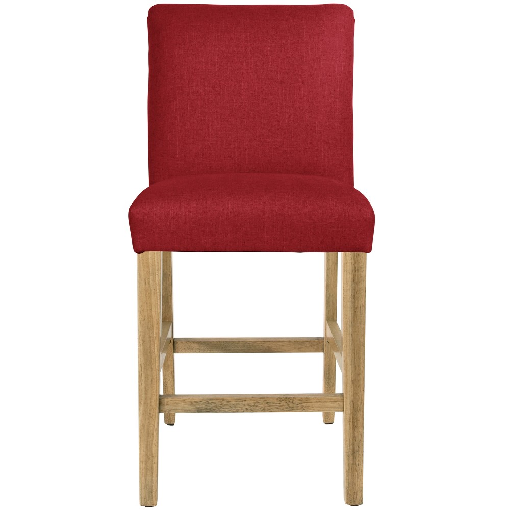 Parsons Counter Height Barstool Red Linen with Natural Legs - Threshold Buy
