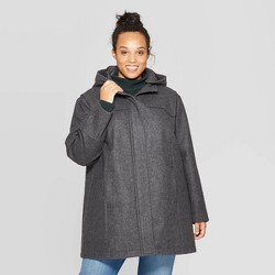Women's Plus Size Wool Duffel Pea Coat - Ava & Viv™ Heather Gray