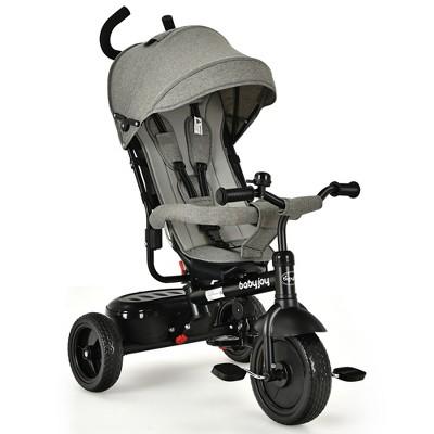 Babyjoy 4-In-1 Baby Tricycle Kids Stroller w/ Adjustable Push Handle Pink\Grey