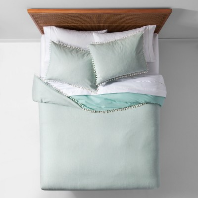 Mint Yarn Dyed Tassel Trim Duvet Cover Set (Full/Queen)- Opalhouse™