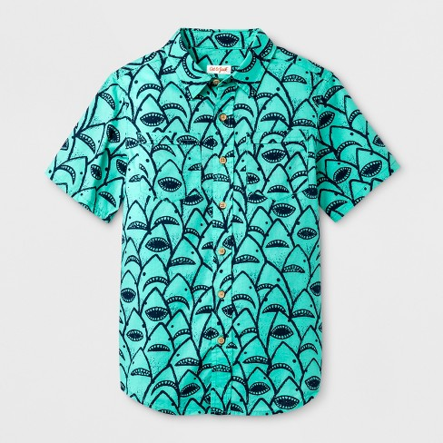 Boys' Short Sleeve Button-Down Shirt Animal Print - Cat & Jack™ Green - image 1 of 1
