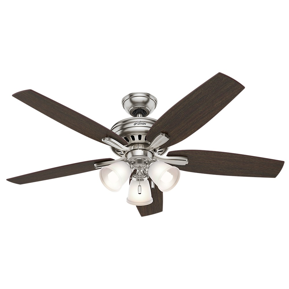 Image of 52 Newsome Brushed Nickel Ceiling Fan with Light - Hunter Fan