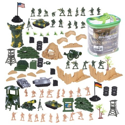 Juvale 100 Piece Military Figures  Accessories, Toy Army Soldiers Two Flag attlefield