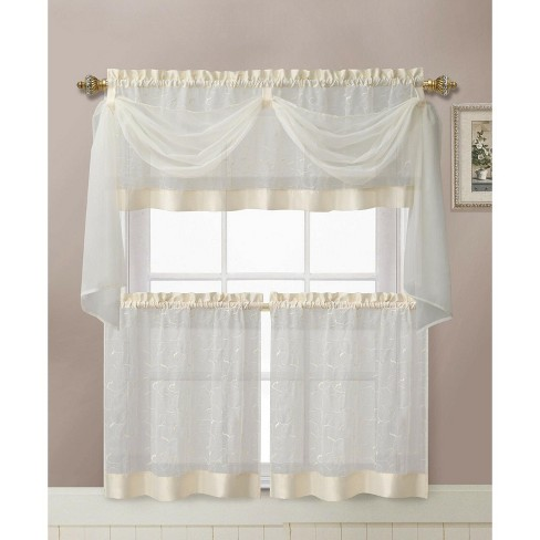 Kate Aurora Living Complete 4 Piece Linen Leaf Embroidered Complete Kitchen Curtain Set - image 1 of 1
