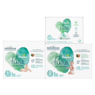Pampers Pure Protection Disposable Diapers Size 1 - 132ct + Size 2 - 120ct & Pampers Aqua Pure Wipes - 560ct - Bundle