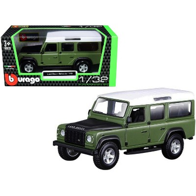 Land Rover Defender 110 Green with Black Hood and White Top 1/32 Diecast Model Car by Bburago